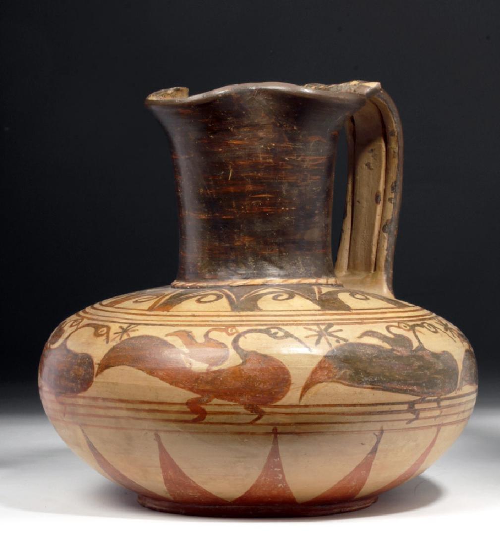 Rare Etruscan Trefoil Oinochoe - Birds