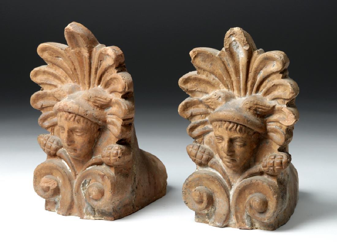 Pair of Etruscan Ceramic Decorative Antefixes - Mercury
