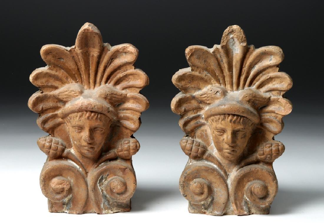 Pair of Etruscan Ceramic Decorative Antefixes - Mercury - 2