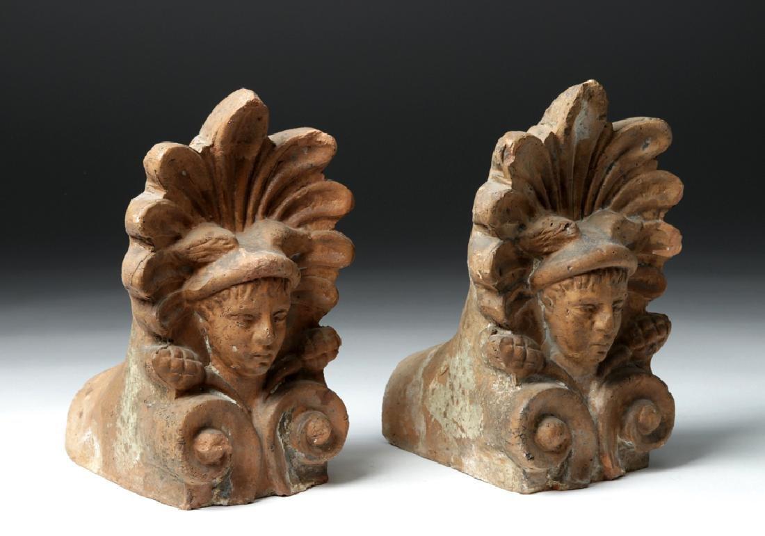 Pair of Etruscan Ceramic Decorative Antefixes - Mercury - 3