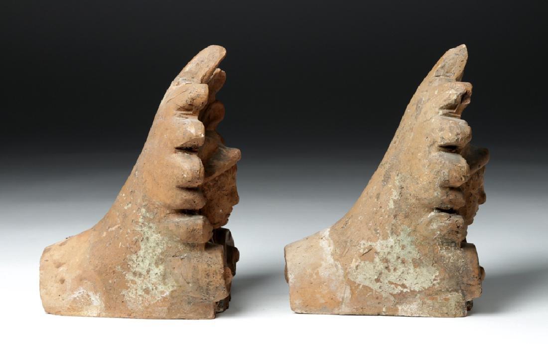 Pair of Etruscan Ceramic Decorative Antefixes - Mercury - 4