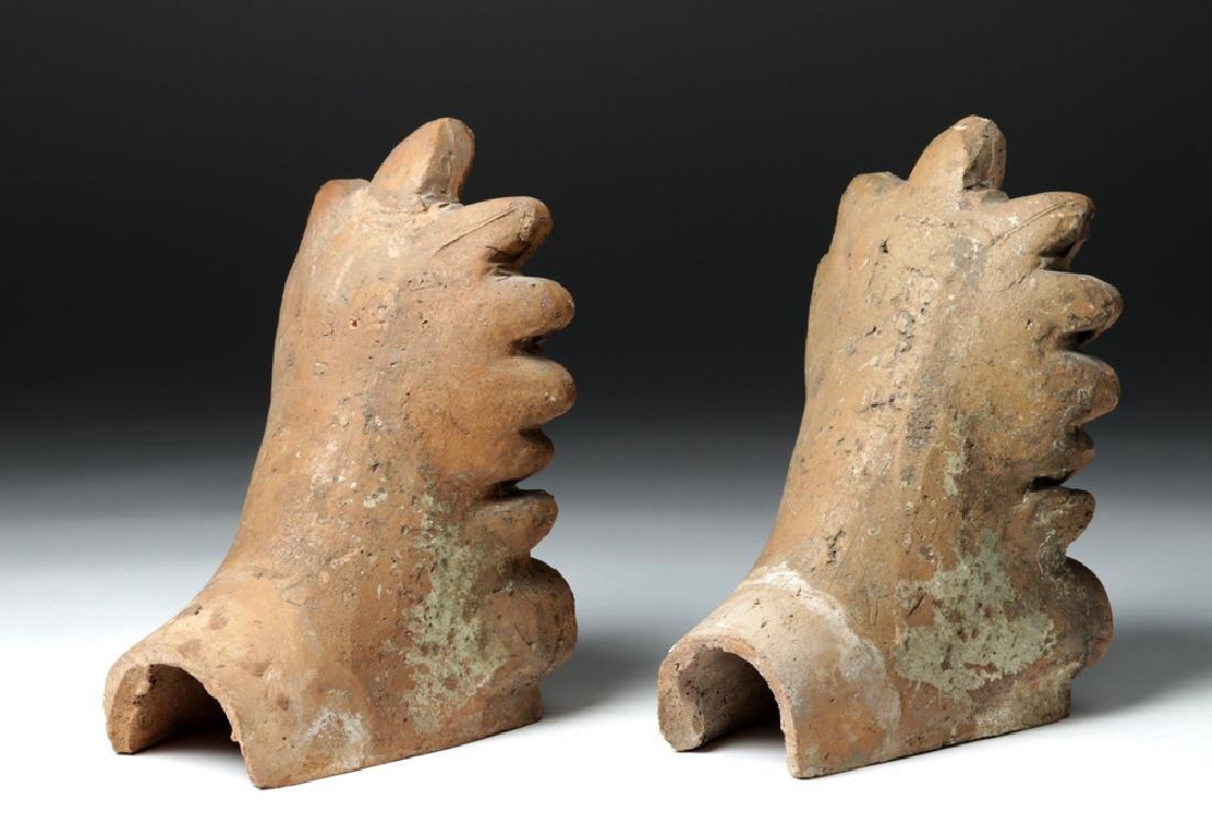 Pair of Etruscan Ceramic Decorative Antefixes - Mercury - 5