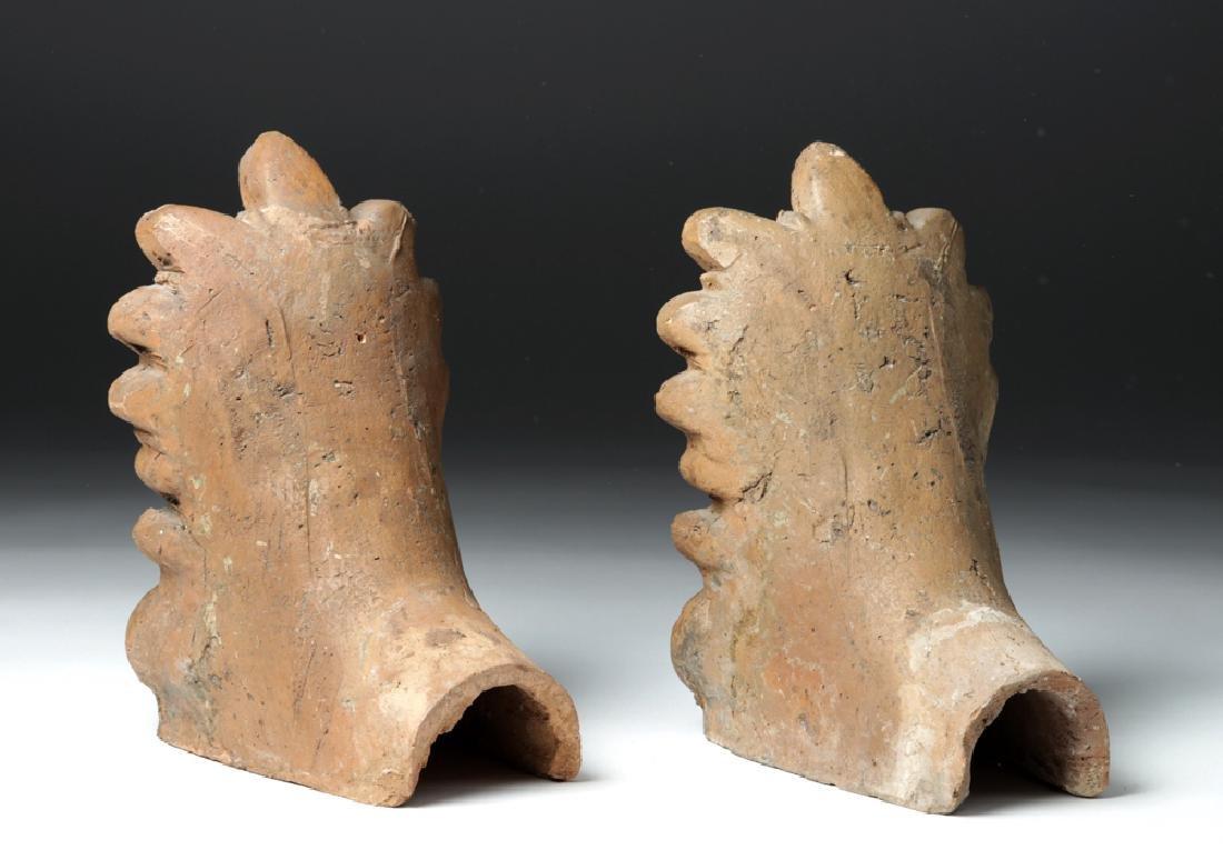Pair of Etruscan Ceramic Decorative Antefixes - Mercury - 6