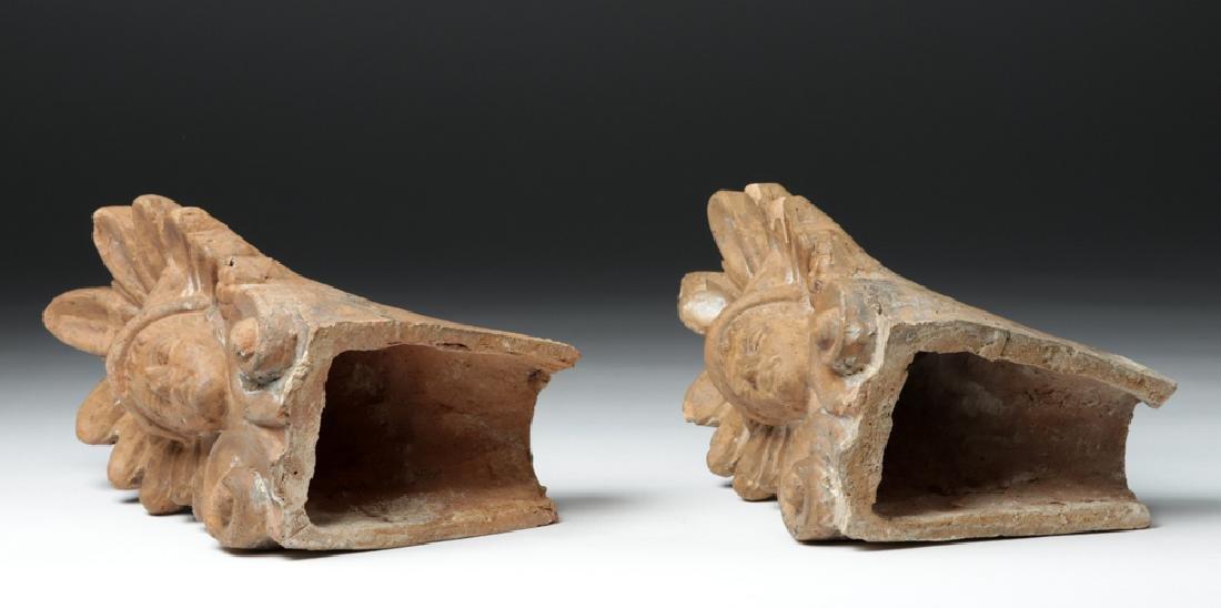 Pair of Etruscan Ceramic Decorative Antefixes - Mercury - 7