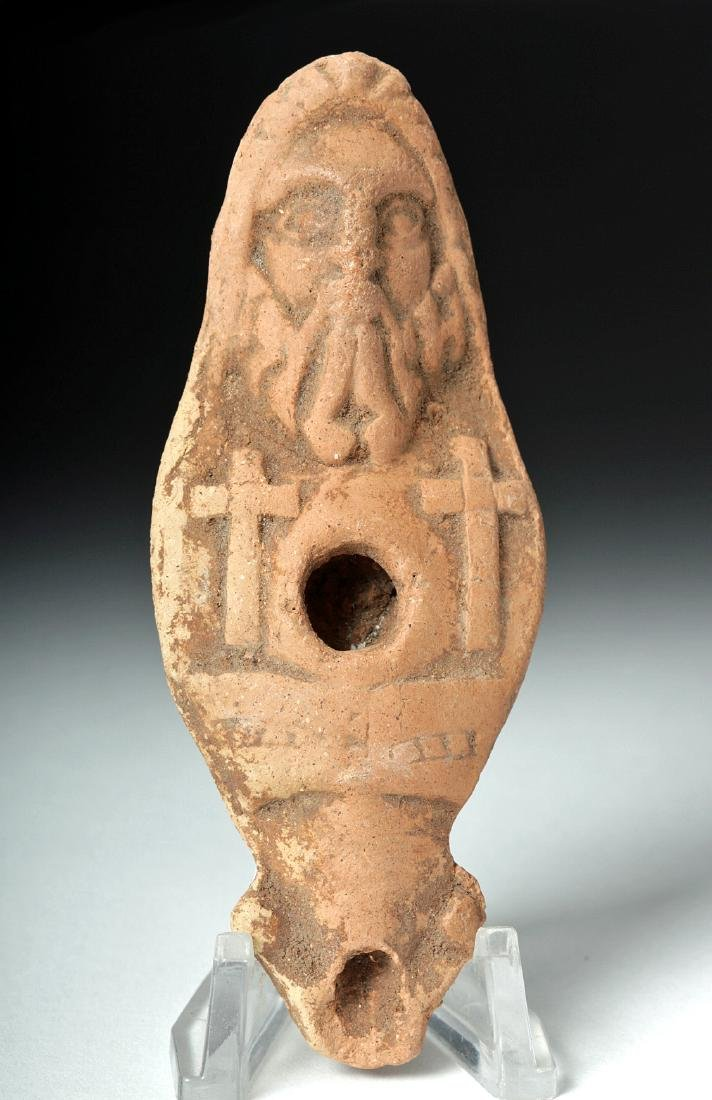 Rare Byzantine Terracotta Oil Lamp - Jesus Christ