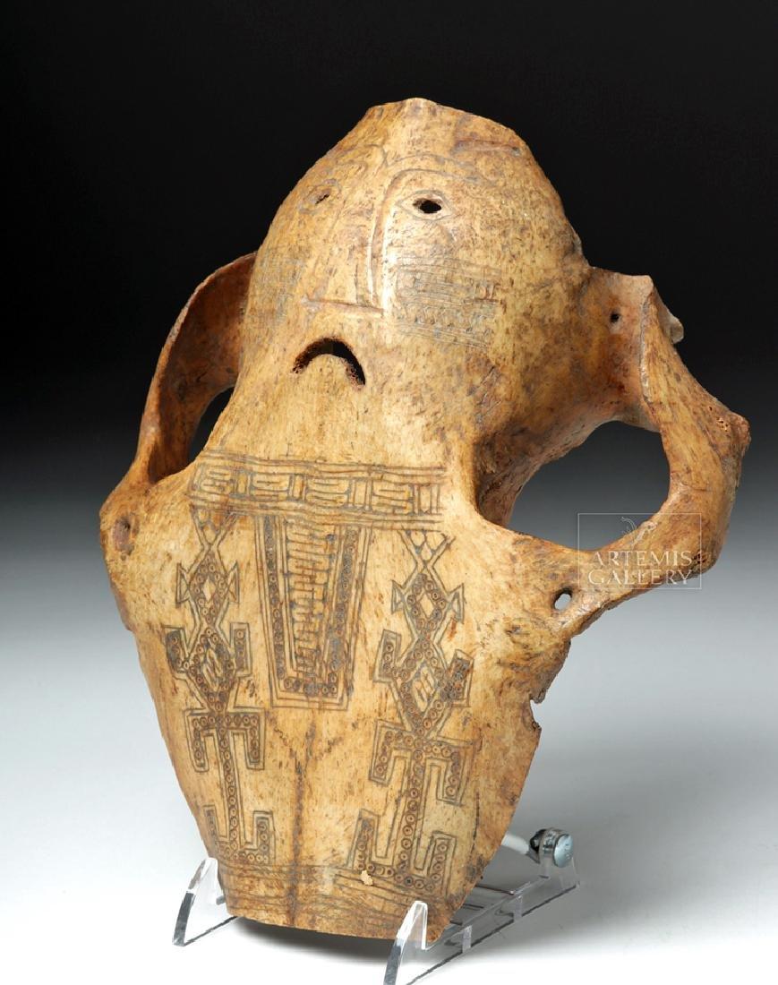 19th C. Indonesia Belu-Atoni Incised Cow Skull Mask - 2