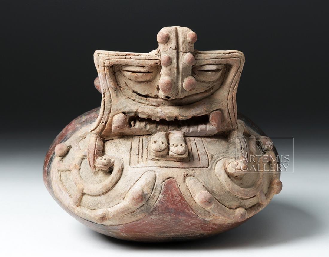 Rare & Spectacular Jamacoaque Jar w/ Abstract Mask - 2