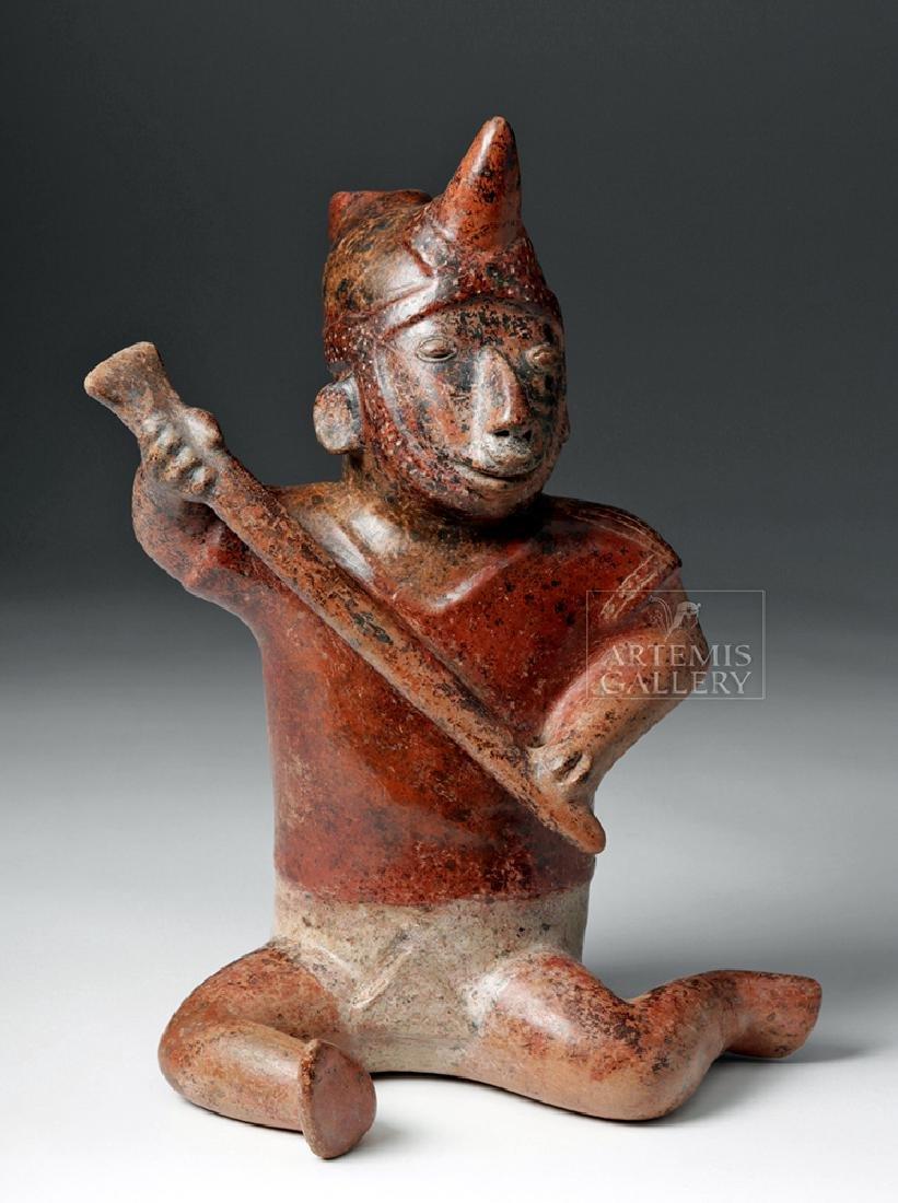 Superb Colima Redware Warrior w/ Horned Helmet