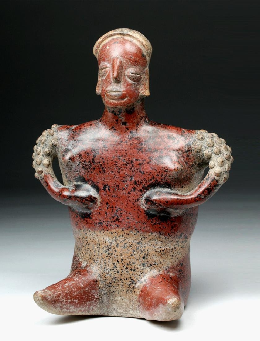 Impressive Colima Redware Seated Female Figure