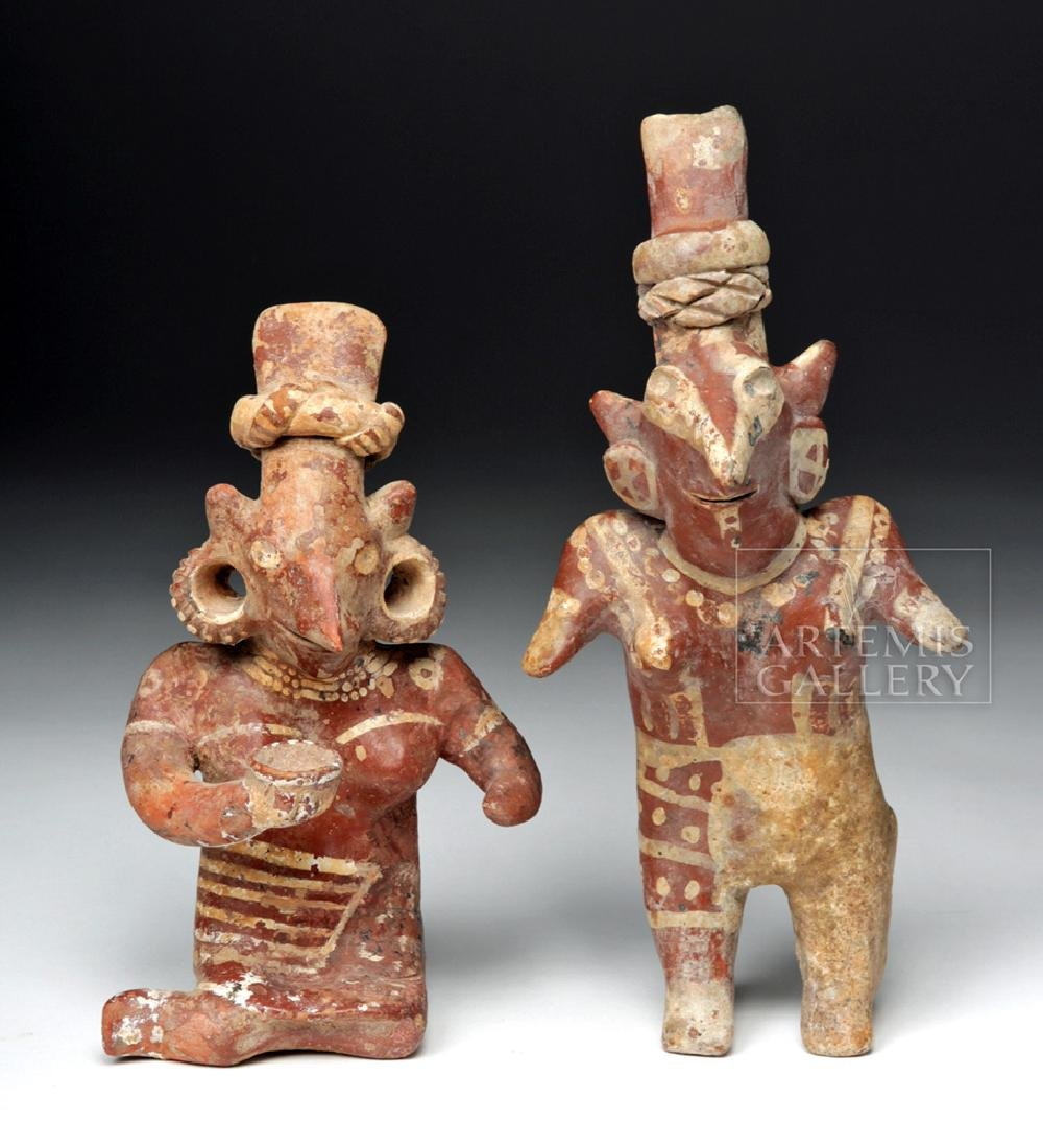 Pair of Fine Pre-Columbian Jalisco Sheepface Figures