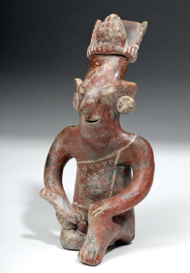 Superb Jalisco Pottery Sheepface Seated Musician
