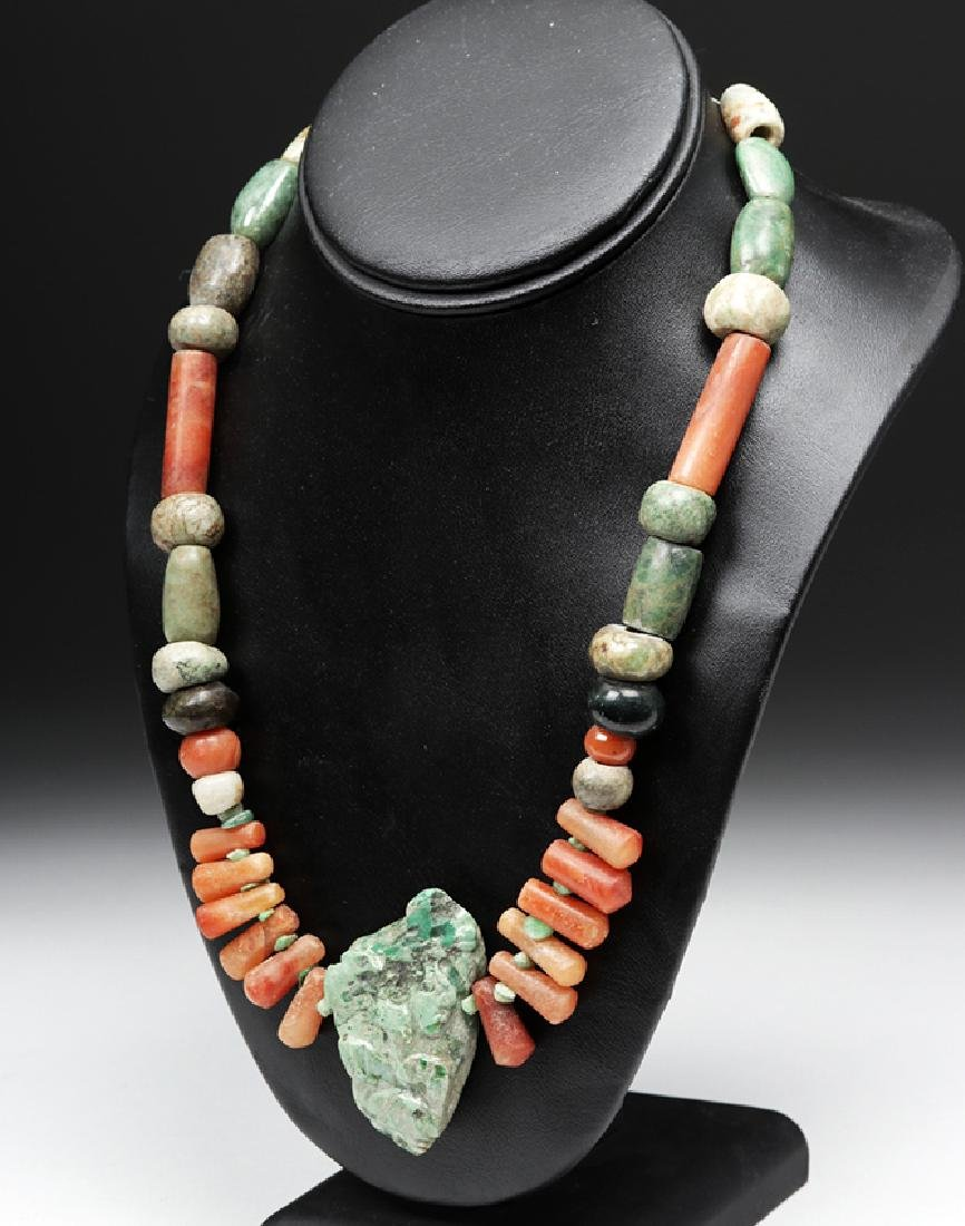 Pre-Columbian Drilled Stone Beaded Necklace - 2