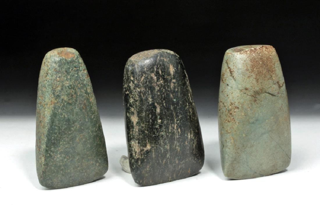Trio of Mayan Ceremonial Green Stone Celts