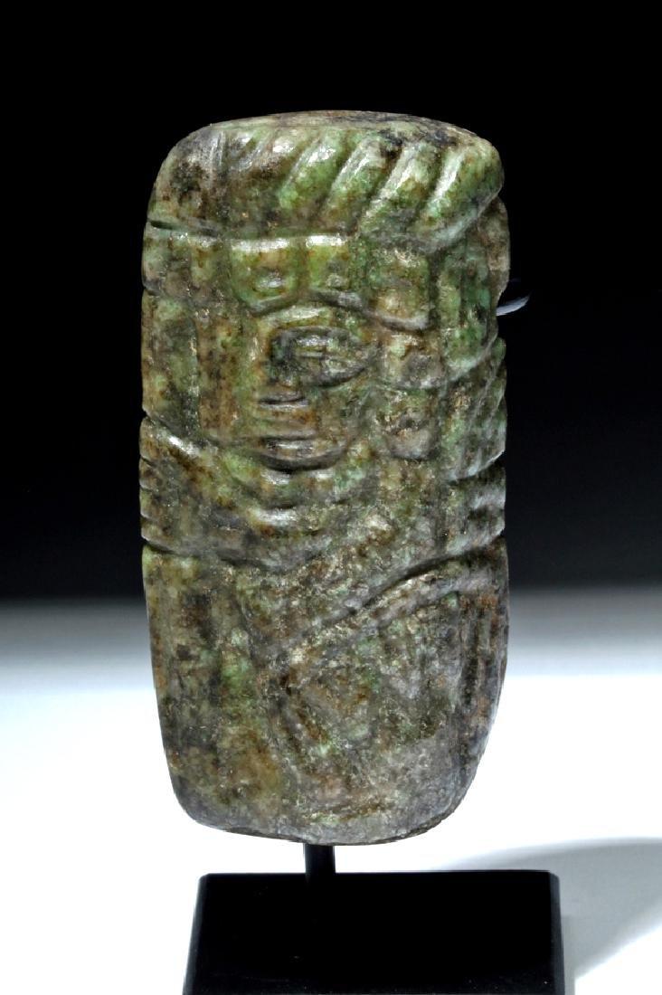 Maya Carved Jade Warrior Pendant