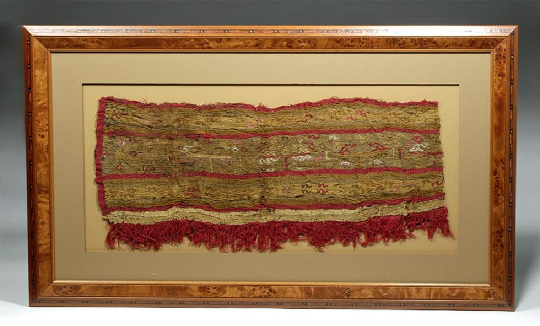 Impressive Pre-Columbian Chimu Textile Panel Framed