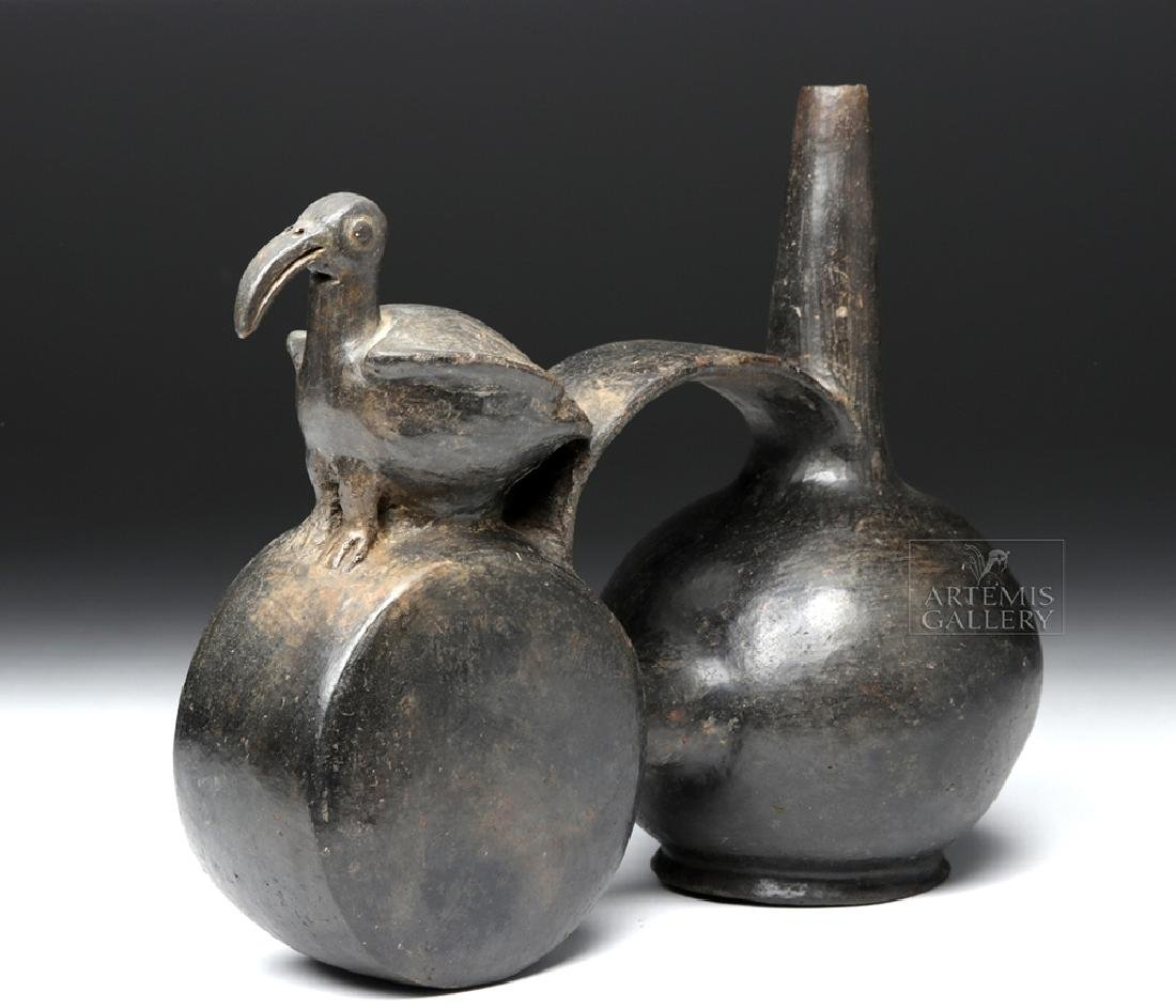 Chimu Blackware Double Chambered Avian Effigy Vessel