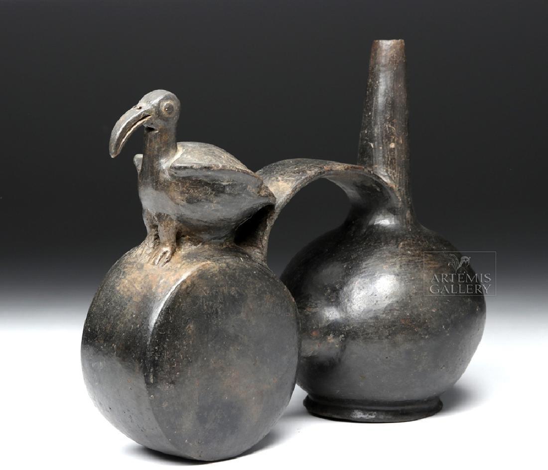 Chimu Blackware Double Chambered Avian Effigy Vessel