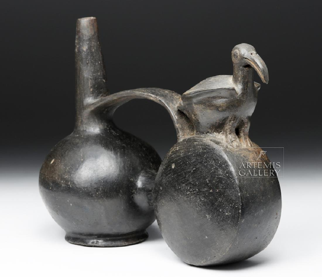 Chimu Blackware Double Chambered Avian Effigy Vessel - 2
