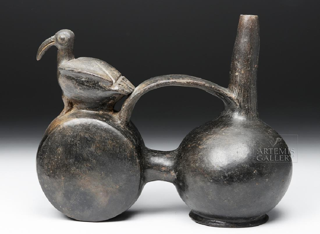 Chimu Blackware Double Chambered Avian Effigy Vessel - 3
