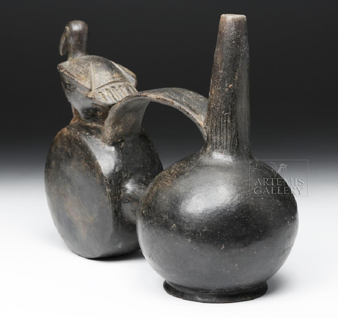 Chimu Blackware Double Chambered Avian Effigy Vessel - 4