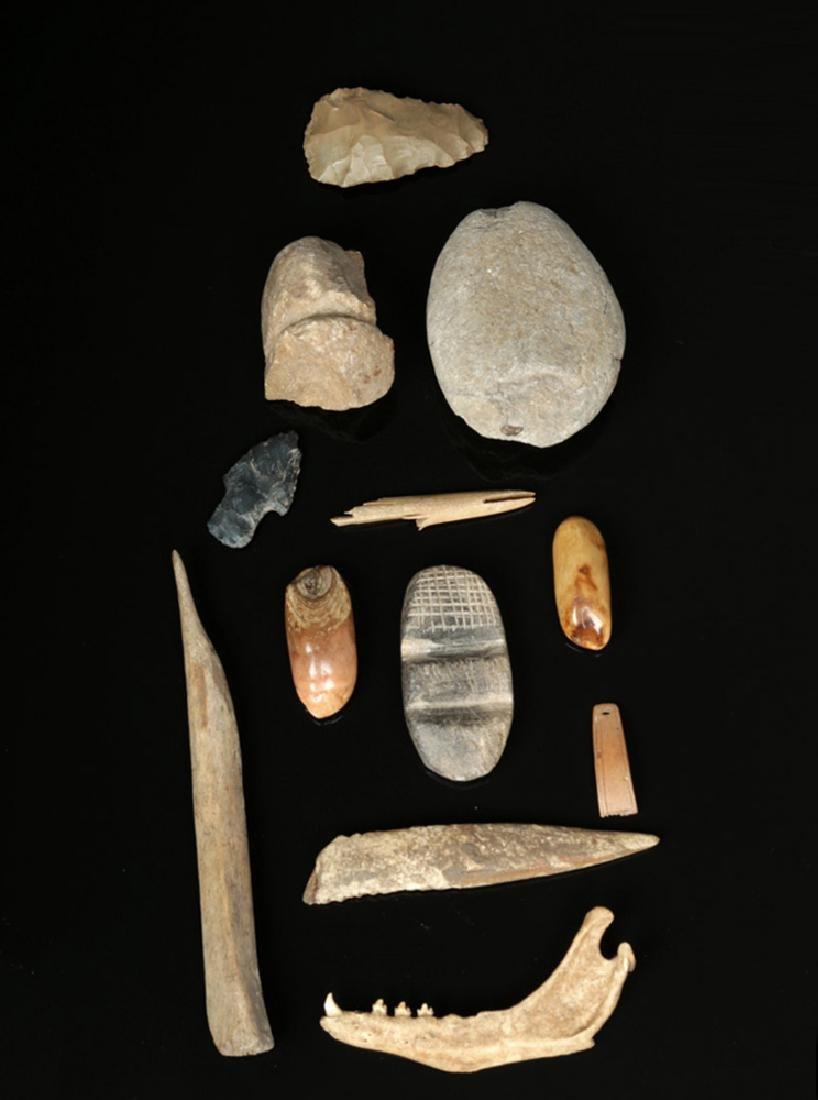 Twelve 19th C. Inuit Stone & Bone Artifacts
