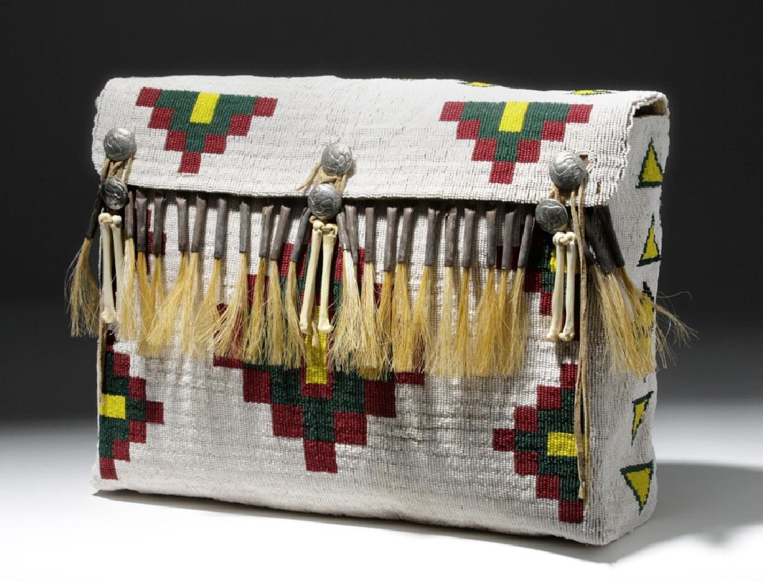 Mid-20th C. Native American Plains Indian Bead Satchel