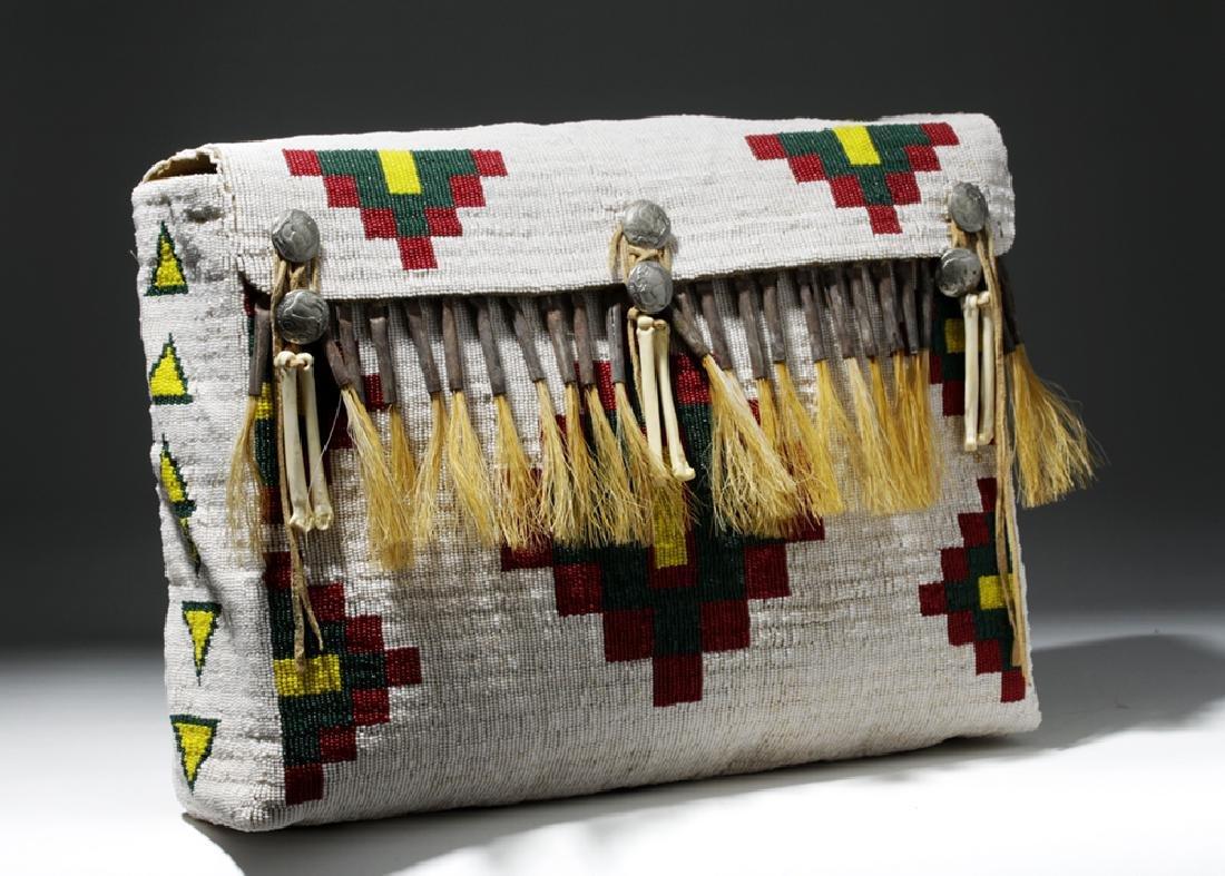 Mid-20th C. Native American Plains Indian Bead Satchel - 5