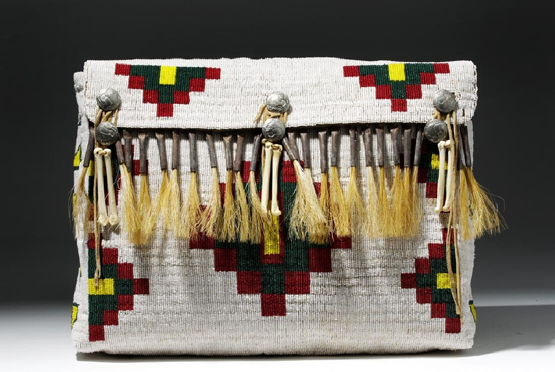 Mid-20th C. Native American Plains Indian Bead Satchel - 6