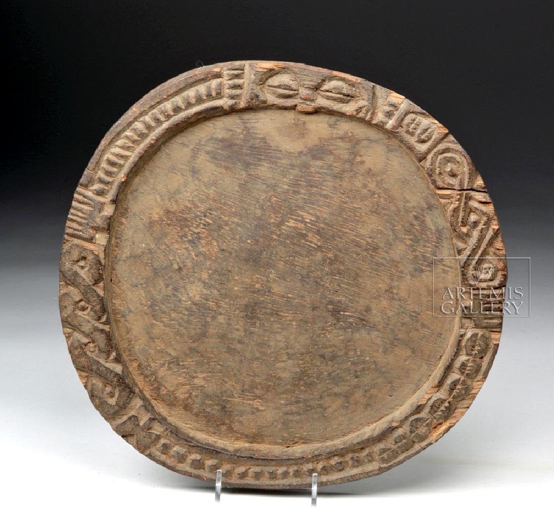 Late 19th C  Yoruban Wood Divination Board - Round