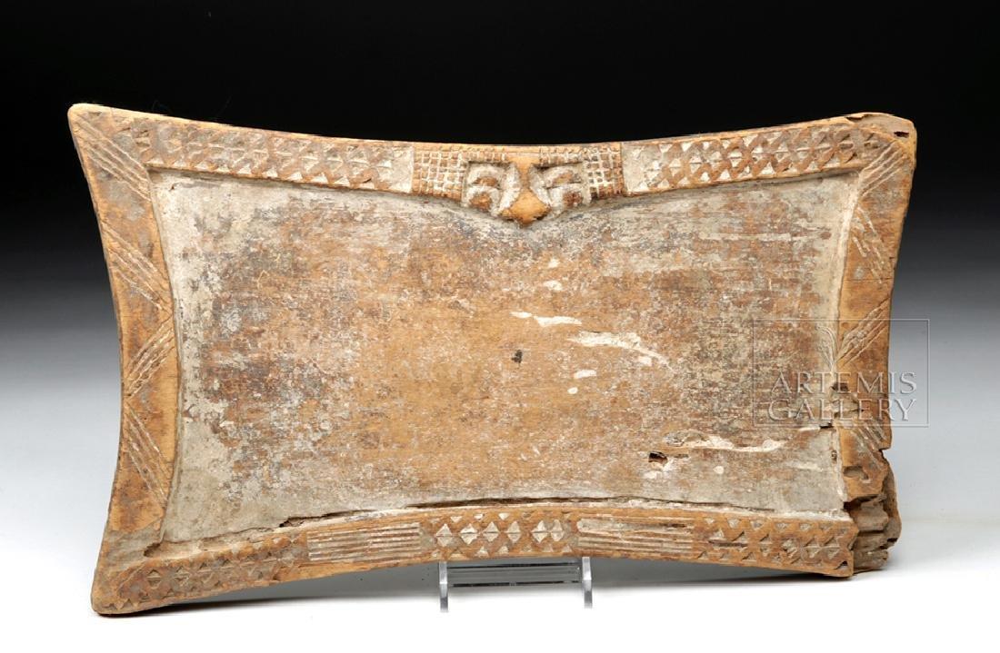 Late 19th C Yoruban Wood Divination Board w/ Face