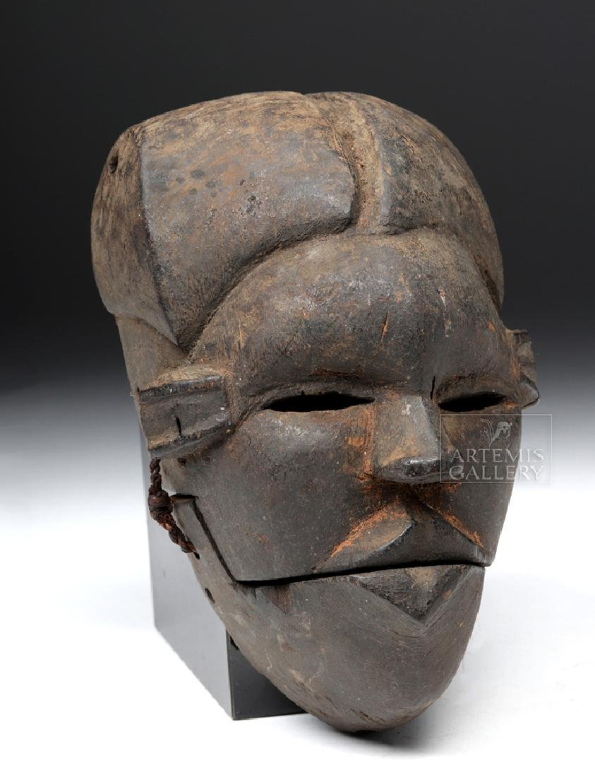 20th C. African Ibibio Wood Mask w/ Articulated Mouth