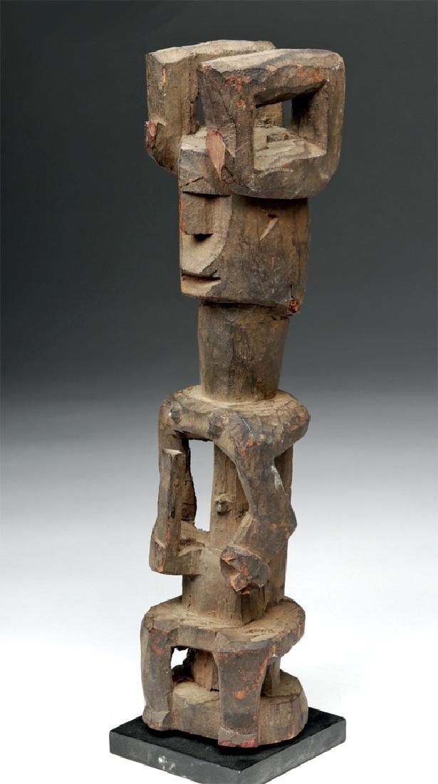 20th C. African Igbo Wood Seated Ikenga Figure