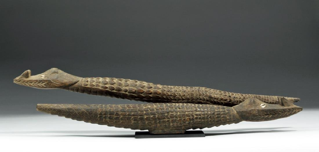 Pair of 20th C. Papua New Guinea Carved Wood Crocodiles