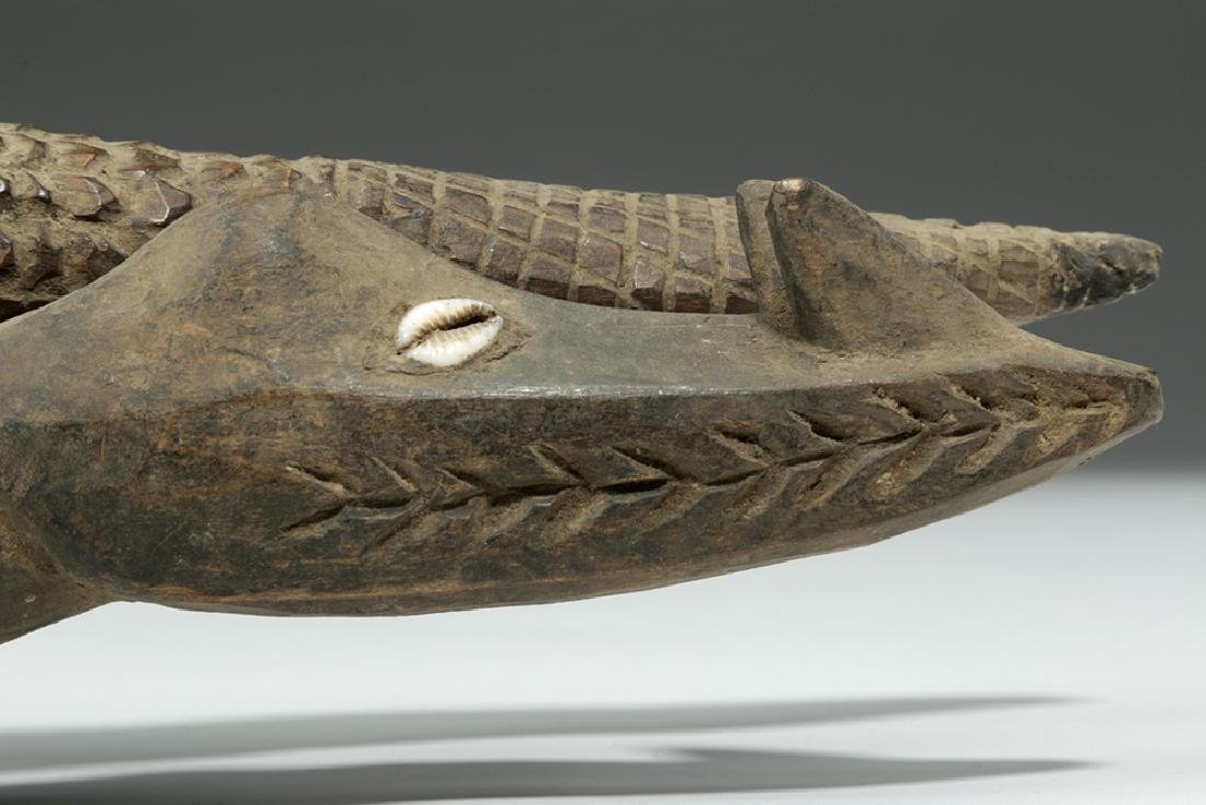 Pair of 20th C. Papua New Guinea Carved Wood Crocodiles - 3