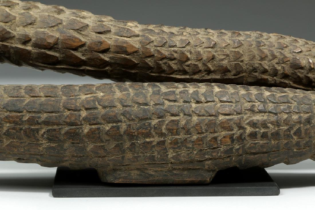 Pair of 20th C. Papua New Guinea Carved Wood Crocodiles - 4
