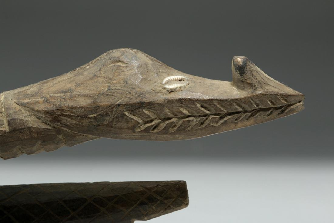 Pair of 20th C. Papua New Guinea Carved Wood Crocodiles - 6