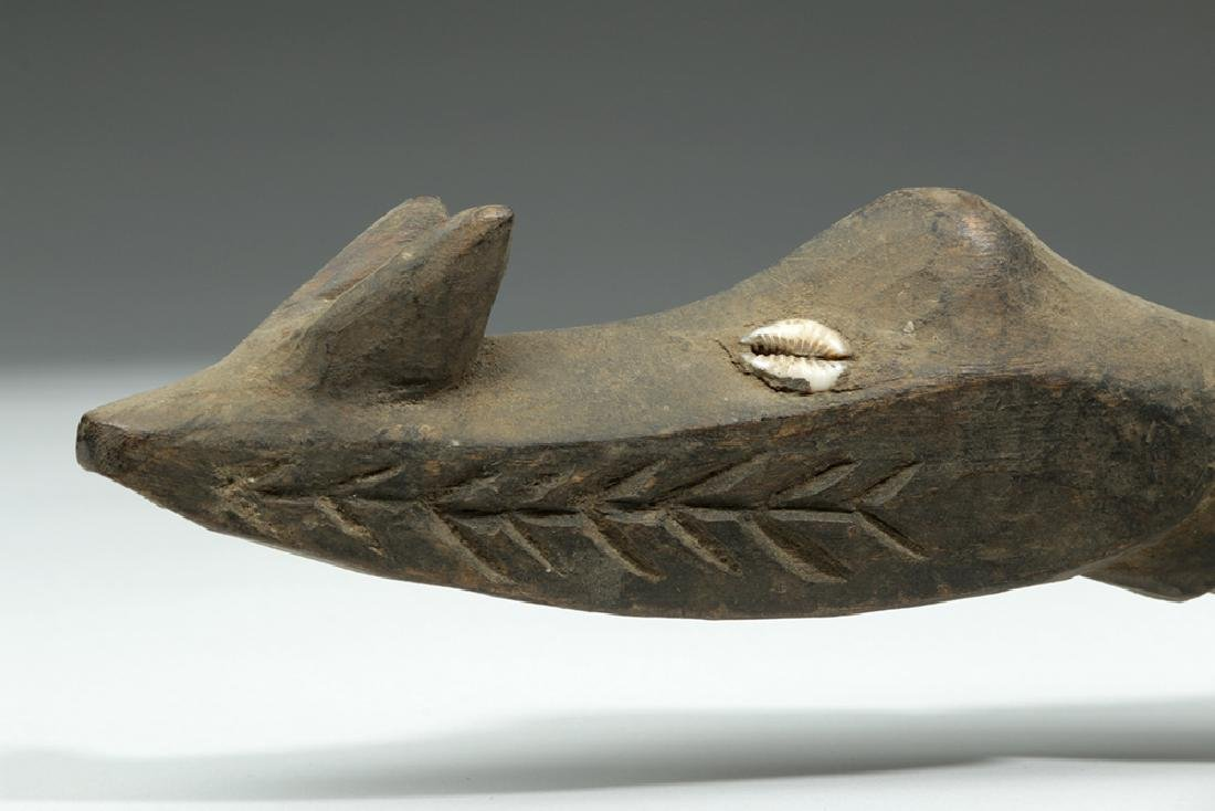 Pair of 20th C. Papua New Guinea Carved Wood Crocodiles - 7