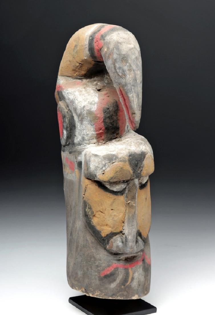Early 20th C. PNG Balsa Wood Yam Mask - Man & Bird