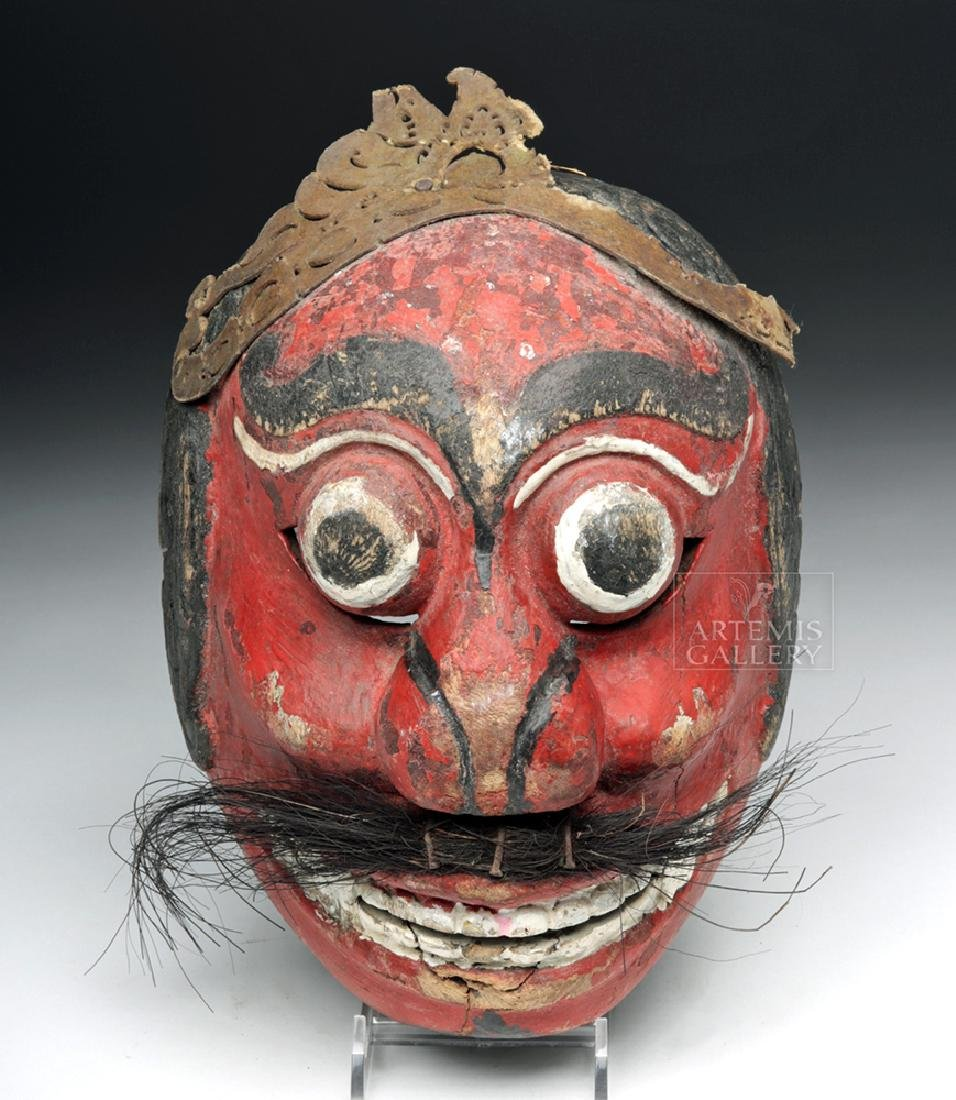 Early 20th C. Indonesian Wooden Festival Mask