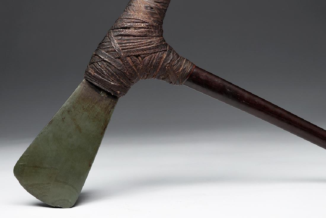 Early 20th C. PNG Jiwaka Wood Adze w/ Schist Axe - 2