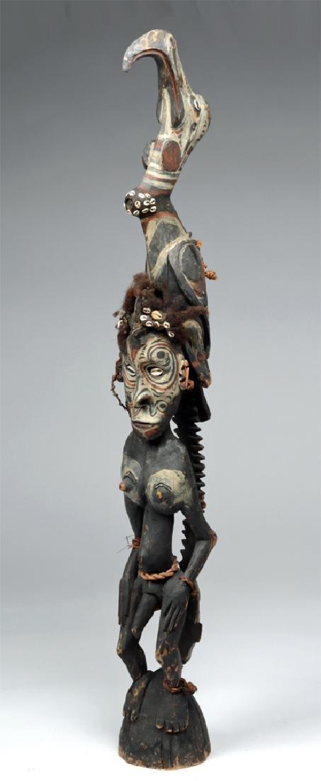 20th C. PNG Sepik River Wood Ancestor Figure- Sea Bird