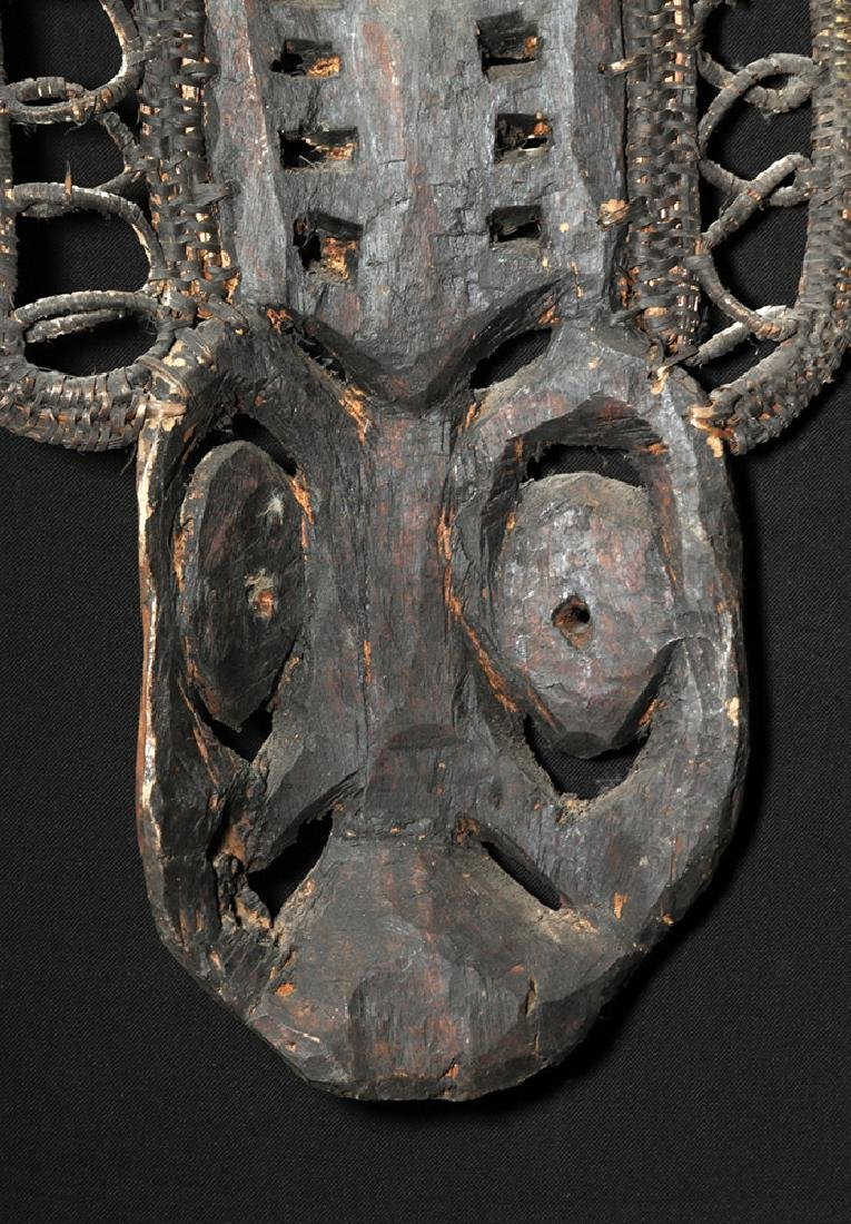 20th C. Papua New Guinea Wood and Reed Yam Mask - 6