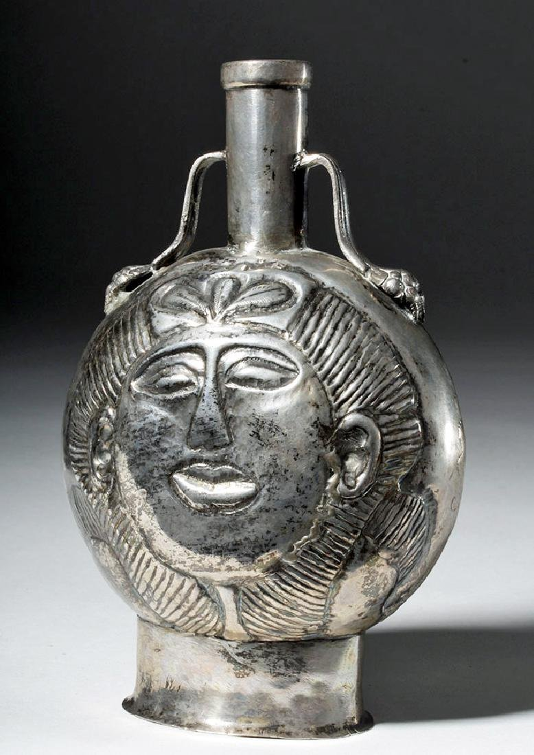 Post-Conquest Inca Silver Flask - Spanish Influence