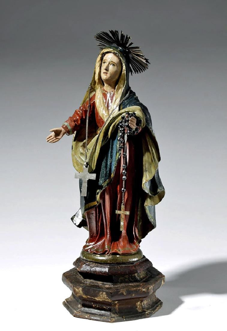 19th C. Spanish Colonial Wood Santo - Virgin Mary