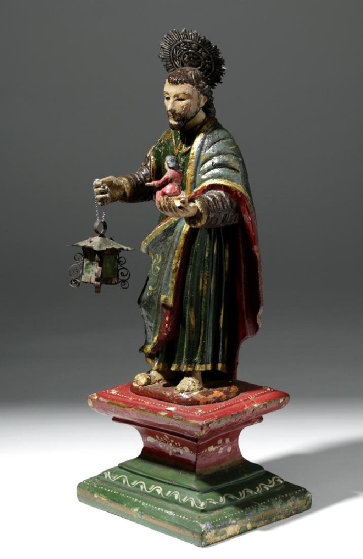 19th C. Colonial Painted Wood Santo - St. Joseph