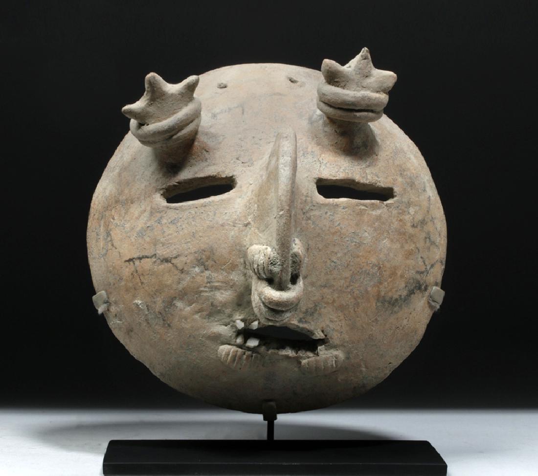 Rare Bahia Manabi Pottery Mask w/ Horns
