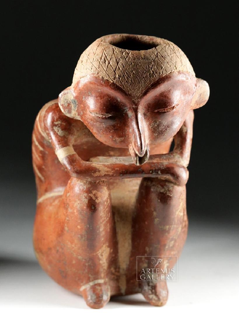 Rare Nayarit Chinesco Pottery Bichrome Seated Hunchback - 2