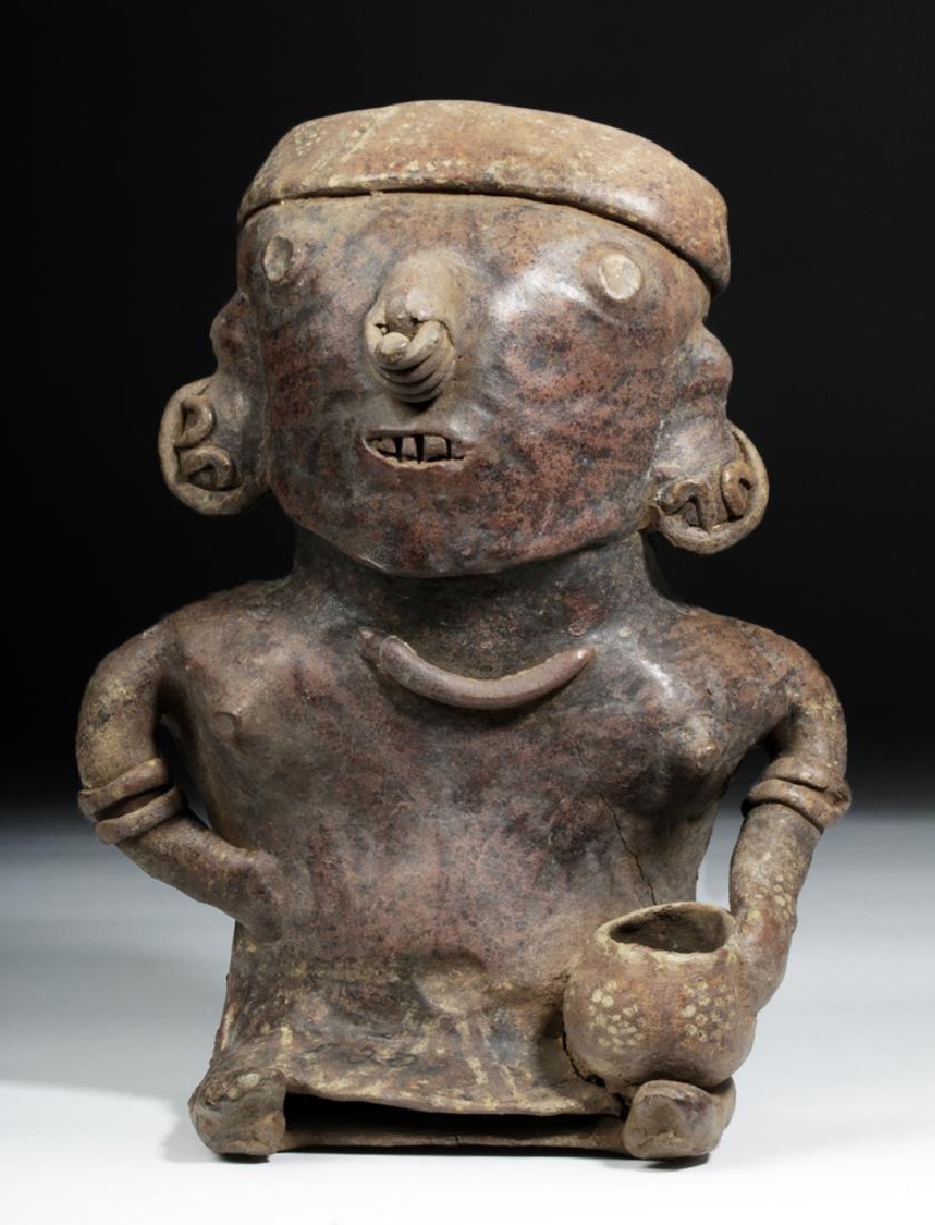 Nayarit Pottery Seated Female Holding Bowl Effigy