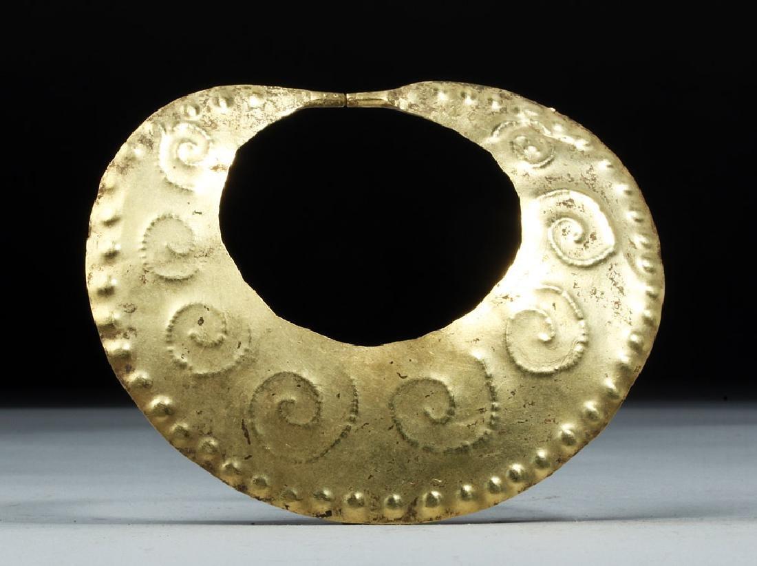 Large Moche 14 Karat Gold Nose Ring