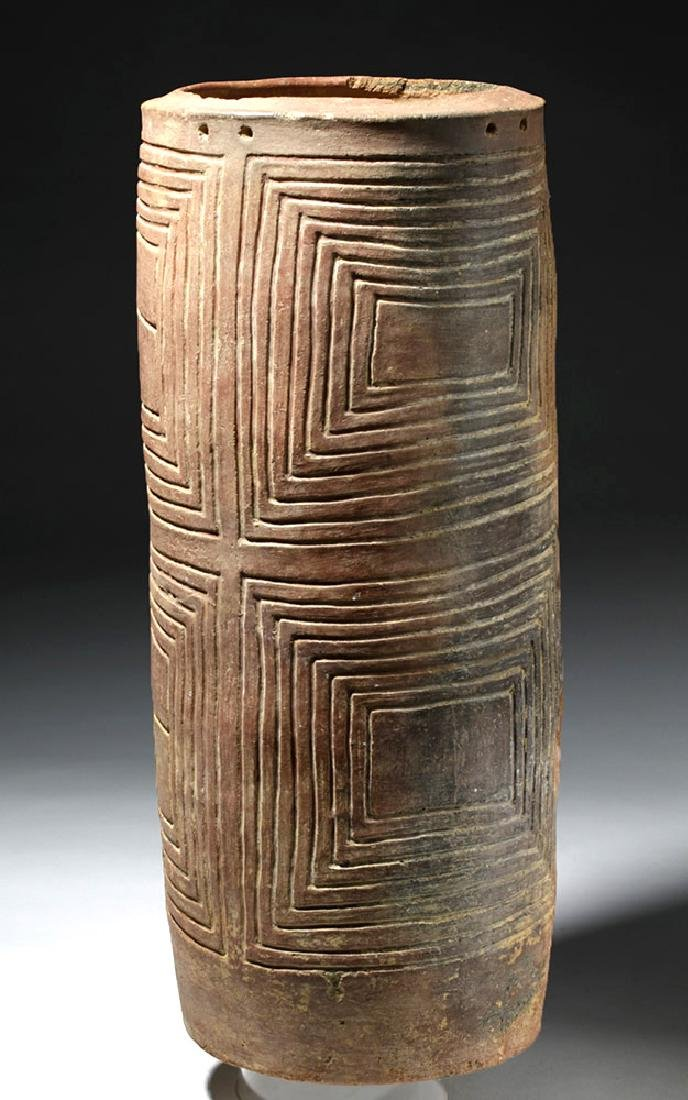 Huge Colombian Pottery Cylinder - Incised Geometrics